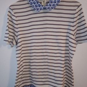 Tory Burch Alexandria Striped Top Size L Stain